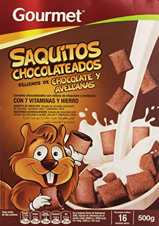 Gourmet Saquitos Chocolateados Rellenos de Chocolate y Avellanas, Cereales - 500 g: Amazon.es: Amazon Pantry