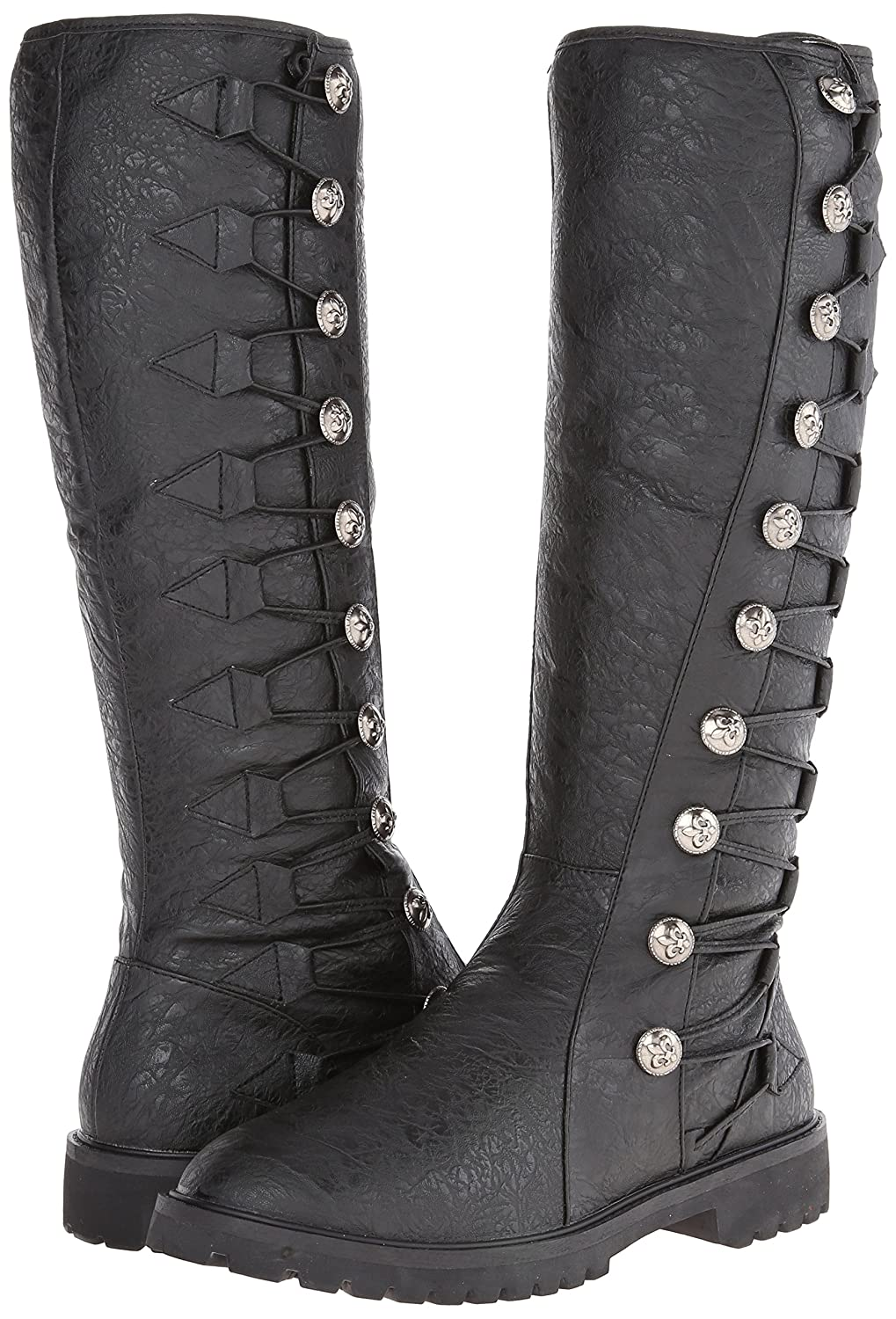 Deluxe Adult Costumes - Men's tall black button laced synthetic gotham-109 engineer boots.
