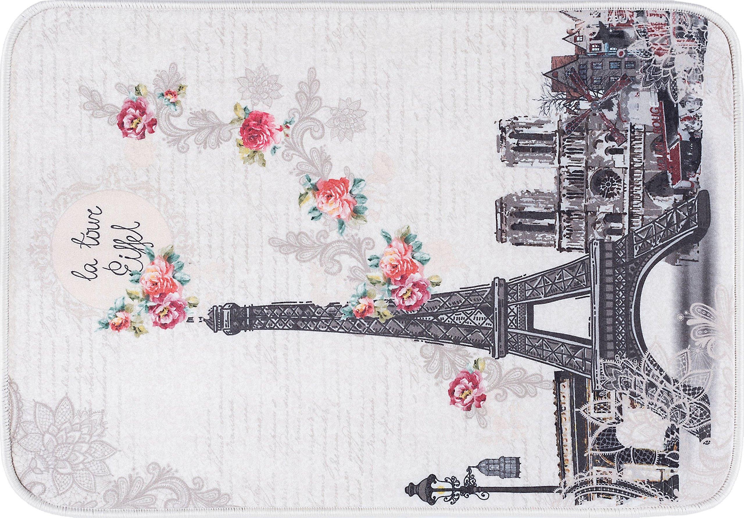 Anti-Fatigue Floral Ivory Comfort Non-Slip Multi-Purpose Kitchen Mat, 20'' x 30''