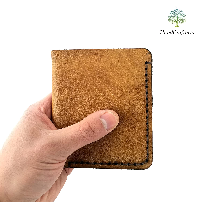 155d4af784ed Genuine leather Wallet for Men made from raw leather of Natural Color,  Skinny Credit Card Holder, Men's Minimalist bifold wallet