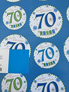 Mens 70 Happy 70th Birthday Gift Wrapping Paper 2 Sheets 1 Tag