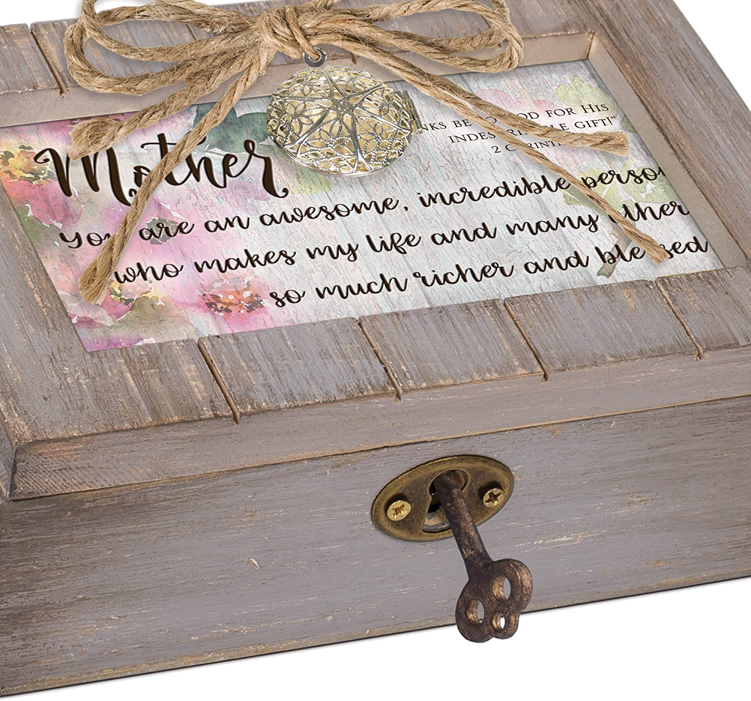 Cottage Garden Daughter Days Turned Into Years Grey Distressed Locket Music Box Plays Friend in Jesus