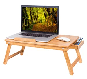 BIRDROCK HOME Bamboo Laptop Bed Lap Tray - Multi-Position Adjustable Tilt Surface - Pull Down Legs - Storage Drawer - Great for Computer iPad Book Coloring Stand - Natural
