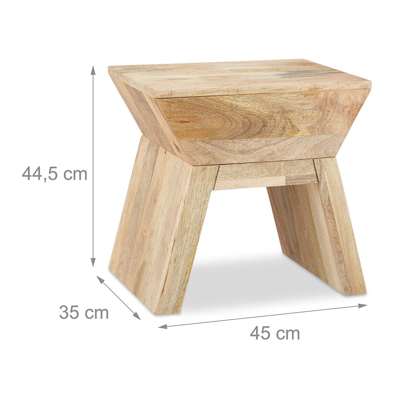 Relaxdays Beistelltisch Hocker 2 in 1, Holztisch aus Mangoholz, Sitzhocker Sitzhocker Sitzhocker im Bauhausstil HxBxT  44 x 45 x 35 cm, rot 5708d7