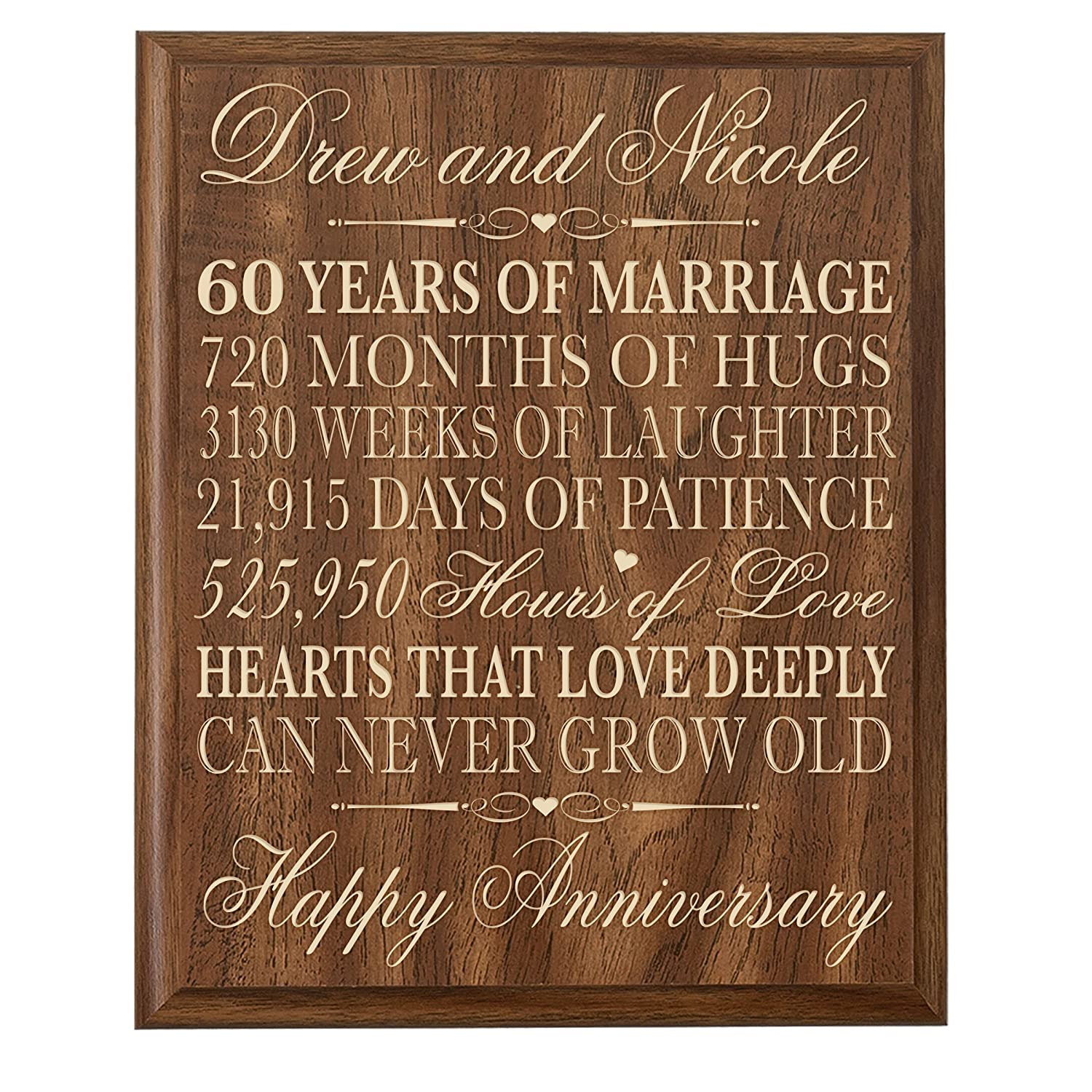 Amazon.com - Personalized 60th Wedding Anniversary Gift for parents ...