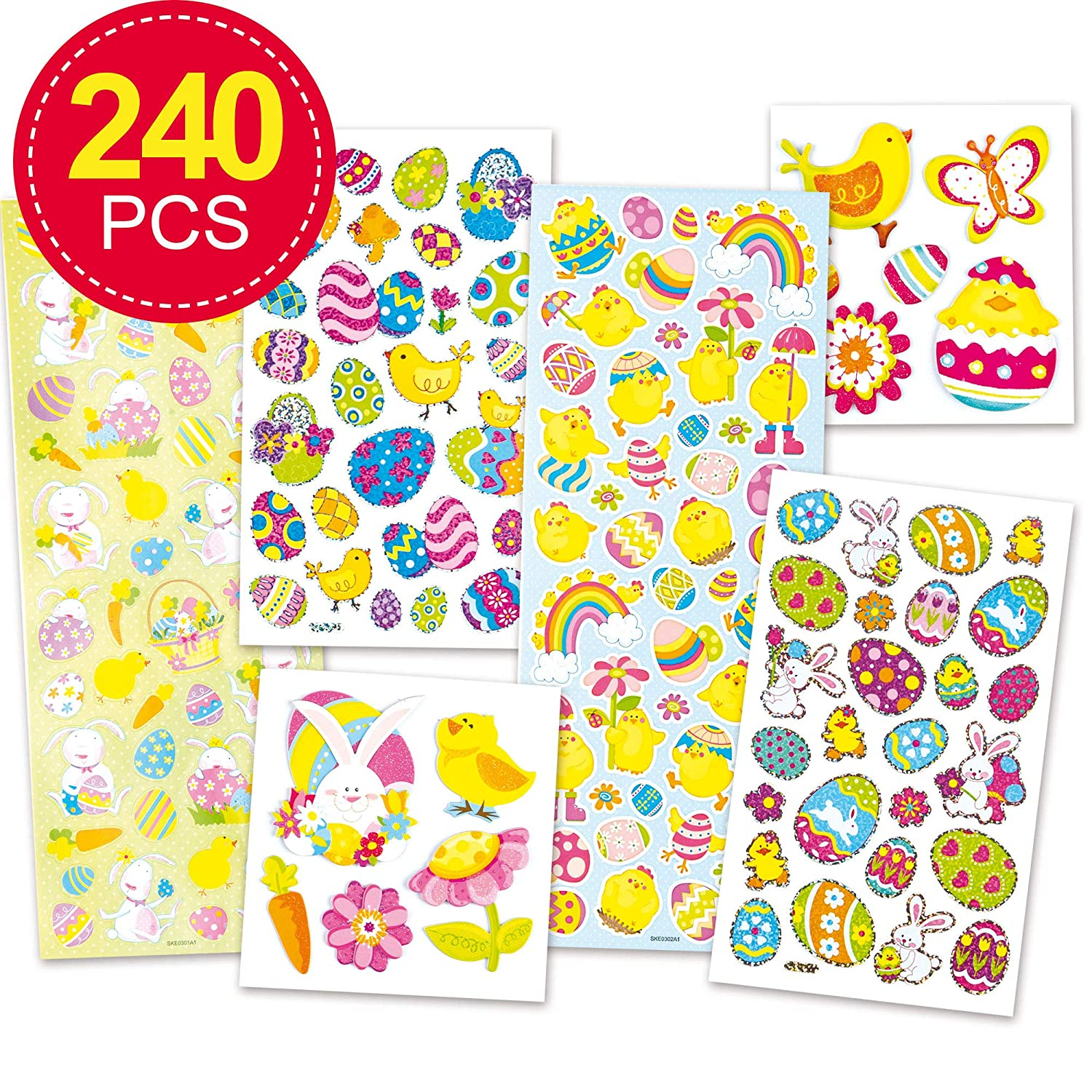 Puffy Glitter Stickers Over 50 Stickers Card Making Crafting Assorted Styles