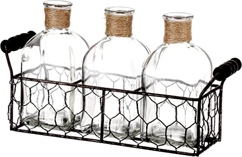 V-More Rustic Glass Bottle Flower Bud Vase with Chicken Wire Basket and Jute Rope 5.5-inch Tall for Home Decor Wedding Party and Celebration Set of 1