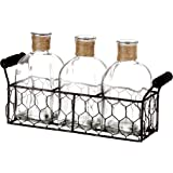 V-More Rustic Glass Bottle Flower Bud Vase with Chicken Wire Basket and Jute Rope 5.5-inch Tall for Home Decor Wedding Party and Celebration (Set of 1)