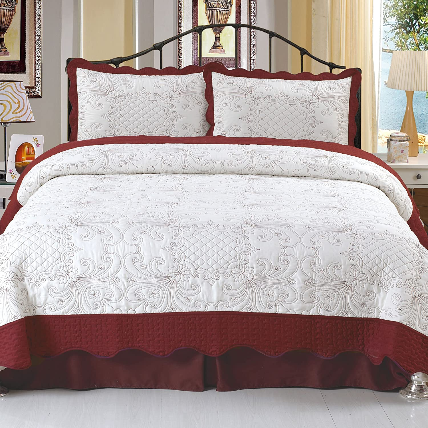 Lavish Home Juliette Embroidered 3-Piece Quilt Set, King