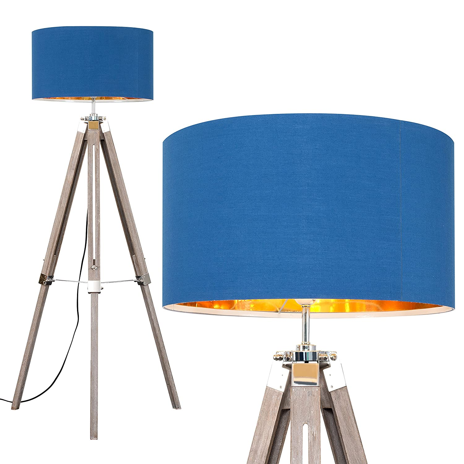 Modern Distressed Wood and Silver Chrome Tripod Floor Lamp with a BlueGold Cylinder Light Shade Complete with a 6w LED GLS Bulb [3000K Warm White]