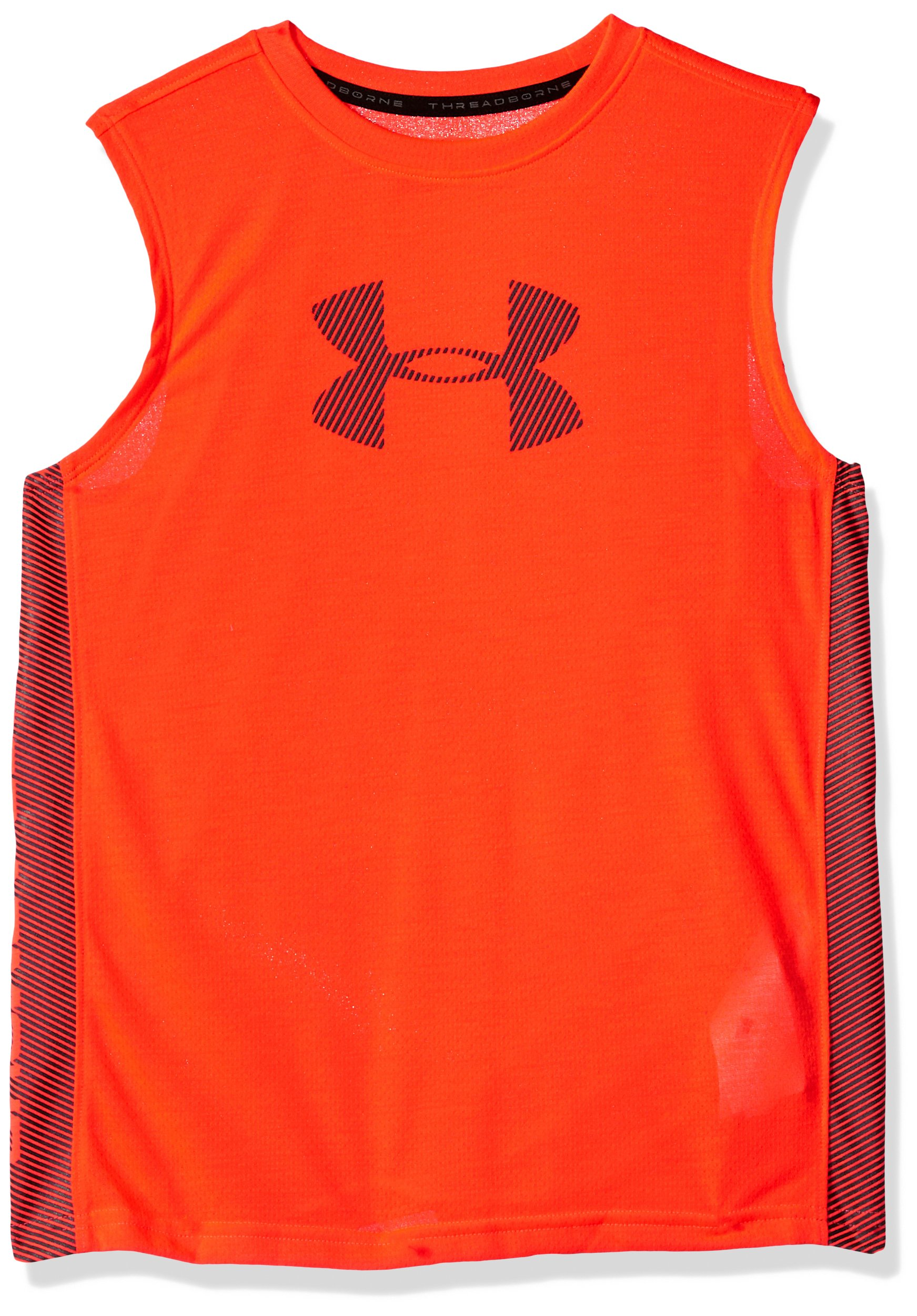 Under Armour Boys' Threadborne Tech Tank, Neon Coral (985)/Stealth Gray, Youth X-Small