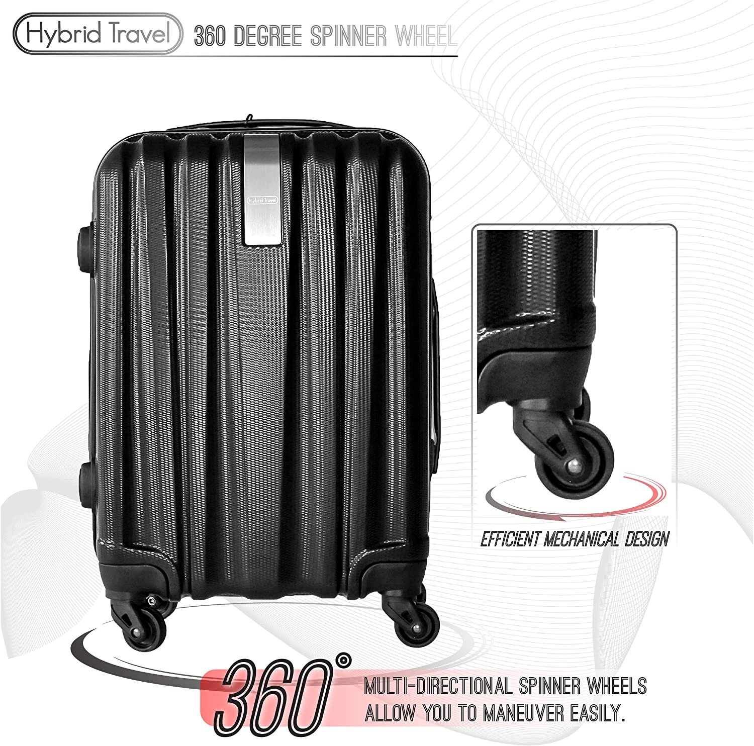 Black 3 Pieces HyBrid /& Company Luggage Set Durable Lightweight Hard Case Spinner Suitcase LUG3-HD1603