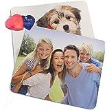 Mousepad mit eigenem Foto, individuell bedruckt mit Logo oder Motiv, 5 mm stark, 270 x 190 mm und Gratis Herz Anhänger mit Textgravur (Diamantgravur)