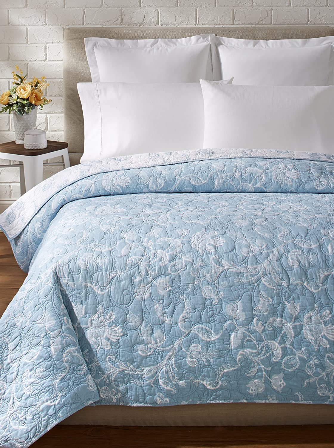 Eliza Lace Reversible Quilt, Blue/White, Full/Queen C&F Enterprises Inc.