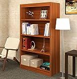 "Bluewud Alex Wall Book Shelf / Home Decor Display & Storage Rack Cabinet Unit (Walnut, 4 Shelves, 52.8""x31.5"")"