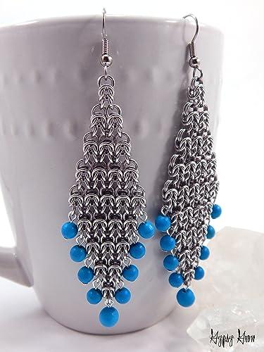 Amazon com: Byzantine Diamond Chainmaille Earrings: Handmade