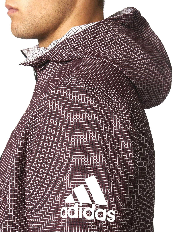 adidas Side Anorak Veste pour Homme S GrenatBlanc: Amazon