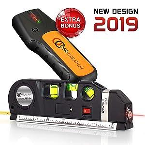 Ofircreation 3-in-1 Laser Level 3.5mV w/Built-In Measuring Tape | Multipurpose Woodworking, Contractor Tool | Imperial & Metric Measurements | Vertical & Horizontal Use | BONUS Stud Finder Sensor