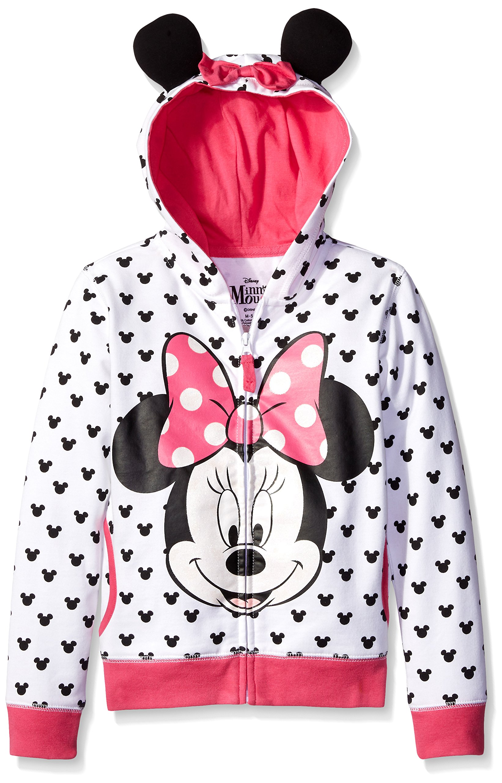 Disney Toddler Girls' Minnie Hoodie with Bow and Ear, White, 4T