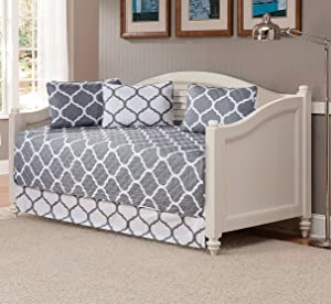 Mk Collection 5pc Modern Elegant Bedspread Daybed Cover Set Geometric Contemporary Pattern Grey White Quilted New