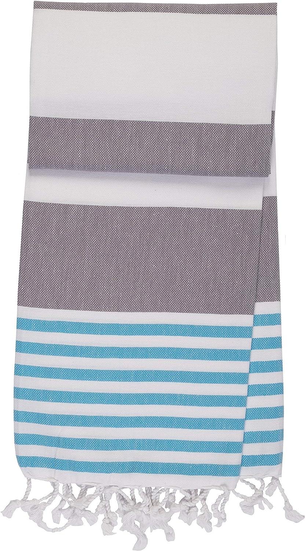 Oeko-TEX/® Premium Fouta Turkish Towel for Travel Beach Sauna Pool Fair Trade Beige//Navy Blue, 95 x 185 cm // 37/″ x 72/″ Organic Cotton ANATURES Hammam towel XL MARINA Soft Pre-washed