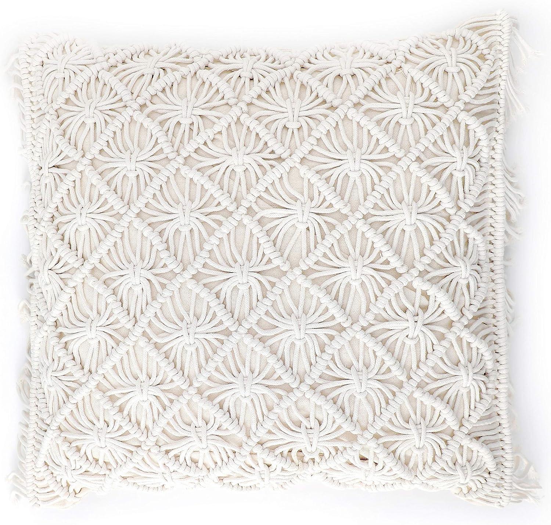 HomeSunshine Macramé Pillow Cover Boho Cushion Cover 100% Cotton Throw Pillow Cover Boho Home Decor