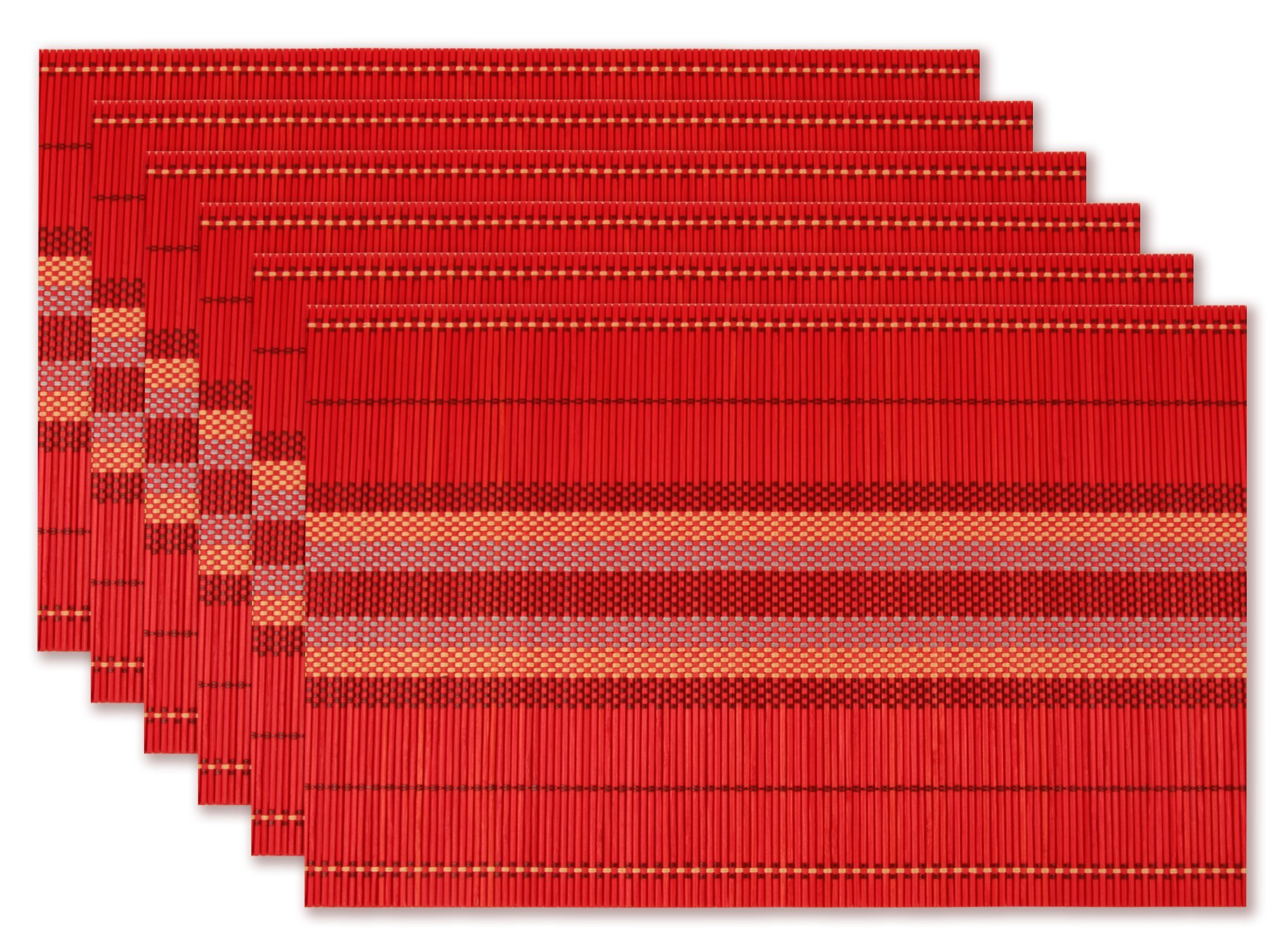 Homcomoda Bamboo Placemats Dining Table Set of 6 Handmade Natural Heat Insulation Place Mats Dinner Table Easy to Clean (Red)