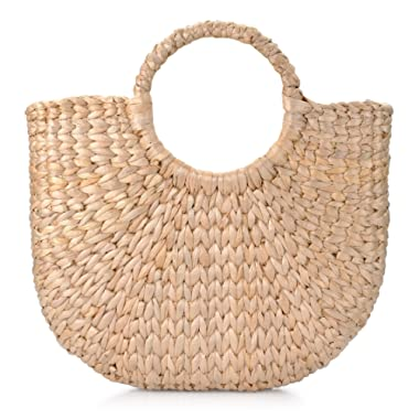 Natural Chic Hand-Woven Round Handle Ring Toto Retro Large Casual Summer Beach Handbags (Straw 15.7x12 H inches)