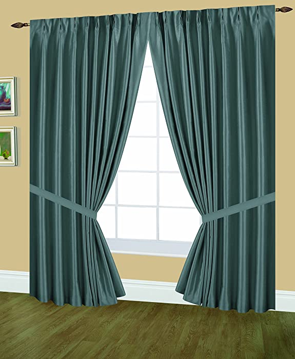 Editex Home Textiles Elaine Lined Pinch Pleated Window Curtain, 48 by 84-Inch, Lagoon