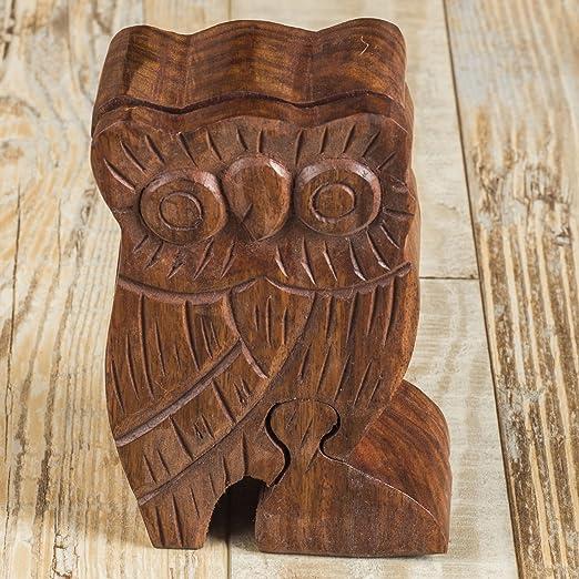 Owl 5 Owl Puzzle Box//Stash Box Hand Carved Wood Box Art