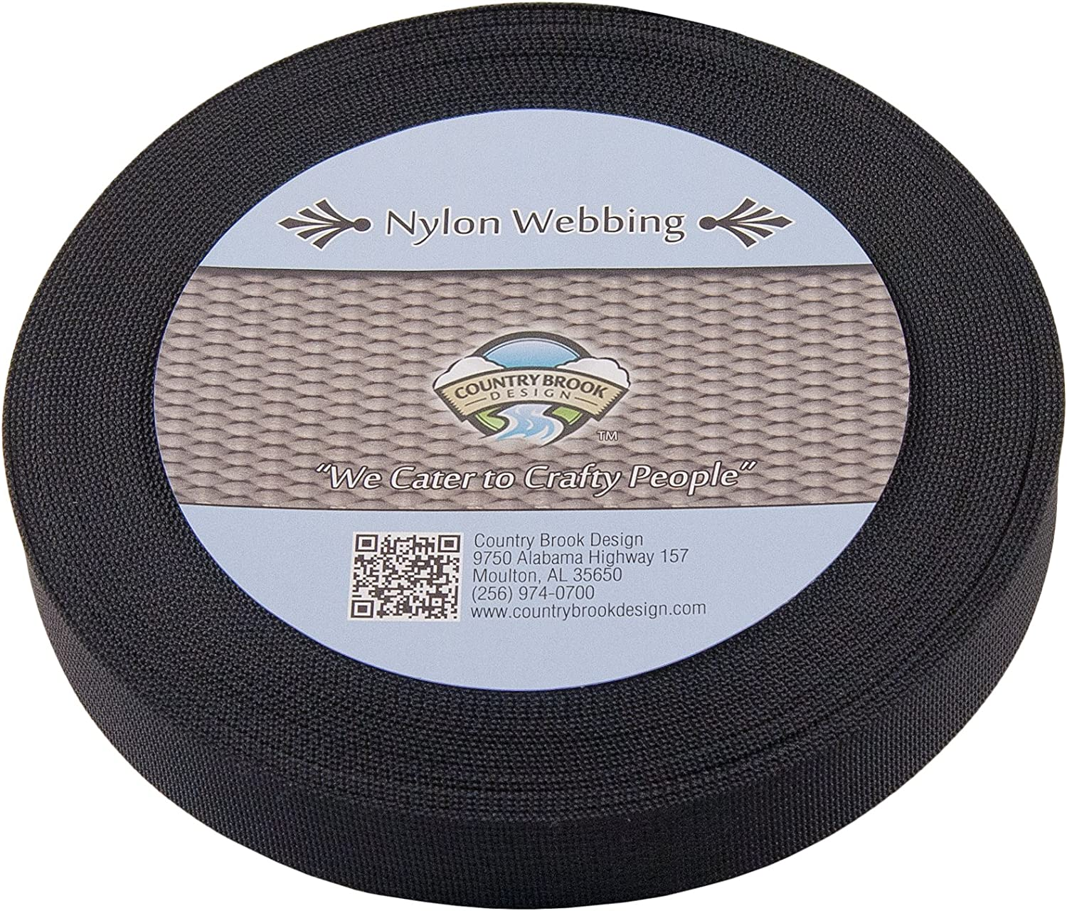 10 Yards Country Brook Design® 2 Inch Black Heavy Polypro Webbing