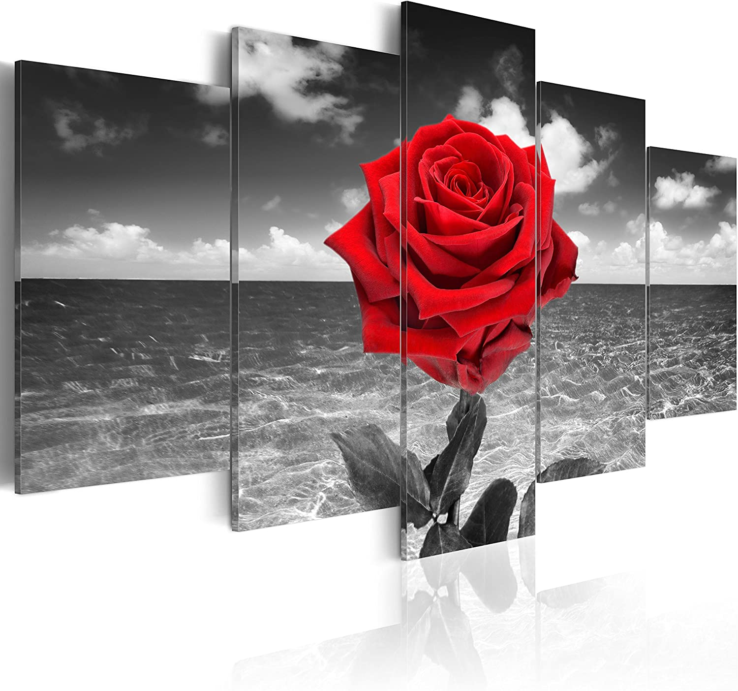 "artgeist Canvas Wall Art Print Flowers Roses Rose 200x100 cm / 78.74""x39.37"" 5 pcs Home Decor Framed Stretched Picture Photo Painting Artwork Image Black White Red Nature 020110-132"