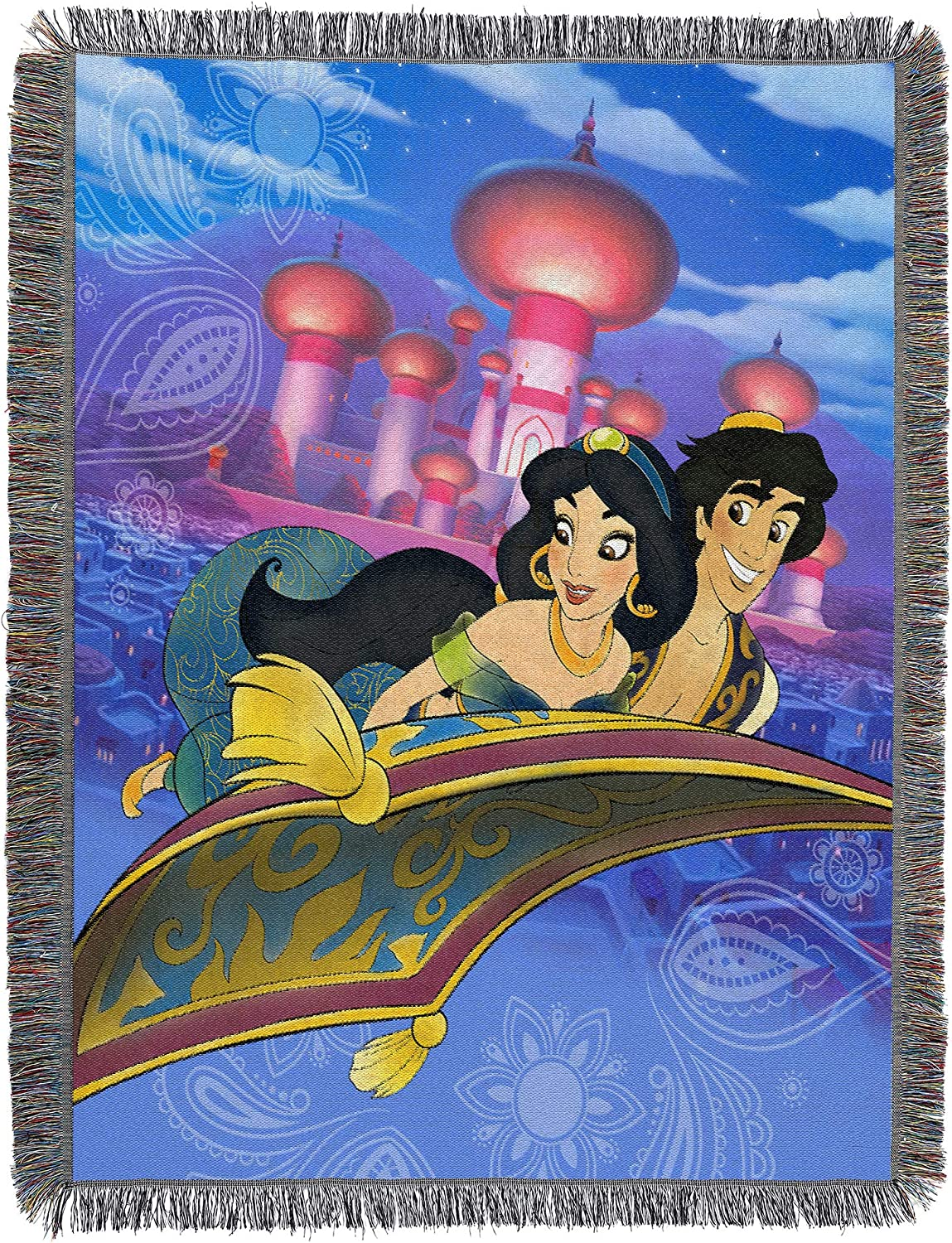 "Disney Aladdin, ""A Whole New World"" Woven Tapestry Throw Blanket, 48"" x 60"""