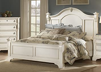 Good American Woodcrafters Heirloom Poster Bed, Antique White, King