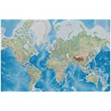 GREAT ART Photo Wallpaper – Modern World Map – Picture Decoration Miller Projection Plastically Relief Design Earth…