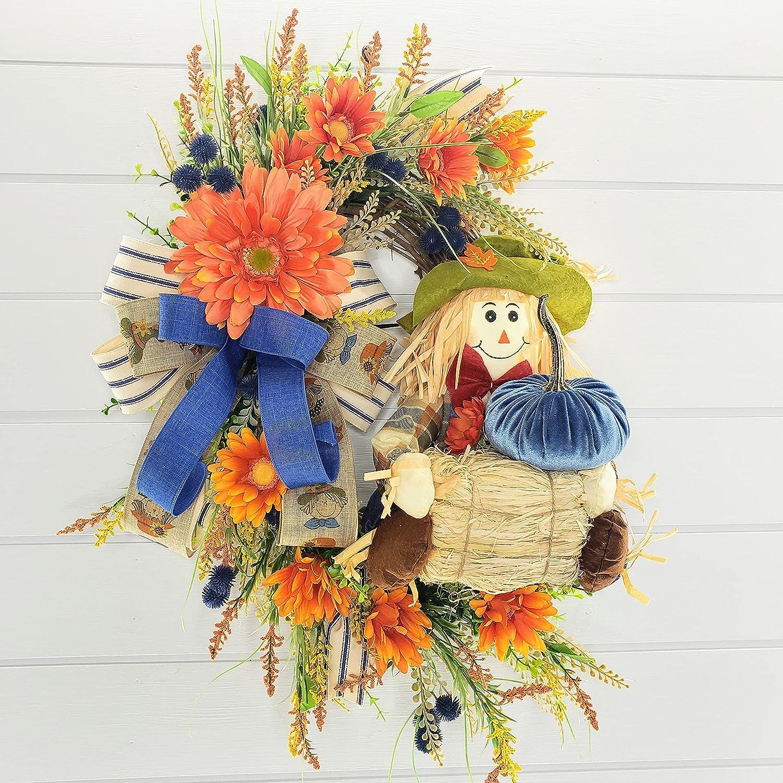 Scarecrow Front Door Wreath 20 Fall Scarecrow Wreath Farm House Front Door Wreath Fall Decor Rustic Fall Wreath Fall Front Door Wreath