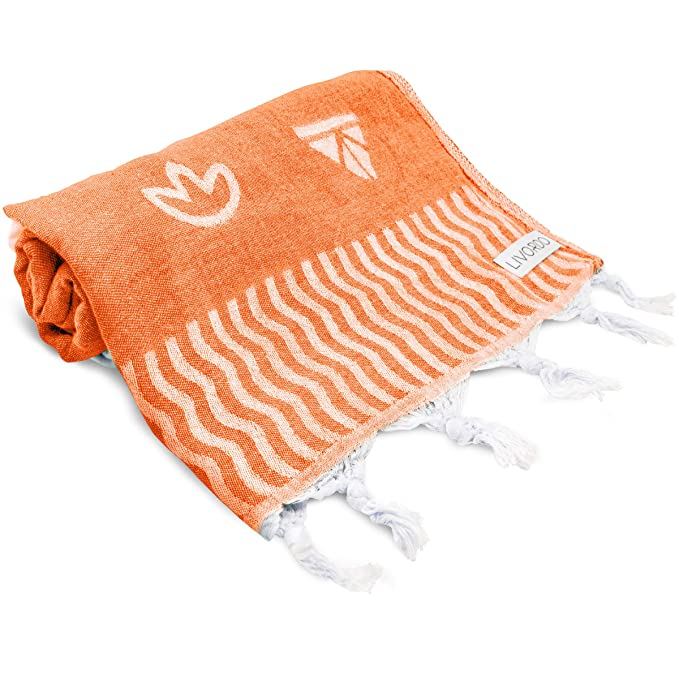Livordo Turkish Beach Towel Soft, Absorbent 100% Cotton Made in Turkey Quick Dry Lightweight Bath Sheet, Sarong, Pareo, Wrap, Pestemal, Scarf, Spa, Yoga, Gym, Hiking, Camping(Orange) best beach towel