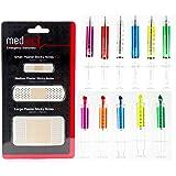 MedInc - Set de papelería (incluye 6 bolígrafos con diseño de jeringas, 5 subrayadores con diseño de jeringas y 1 pack de notas adhesivas con forma de tiritas)