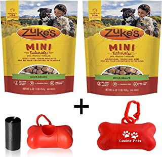 product image for Zuke's Natural Training Dog Treats; Mini Naturals Recipe 2 Pack (32oz Total) Including Luving Pets Waste Bag Dispenser