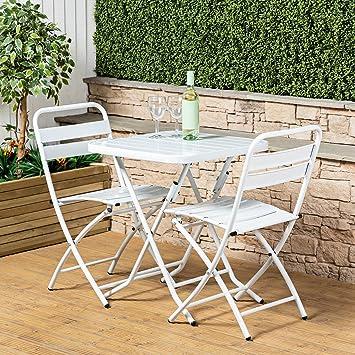 bf01801b1479 Alfresia Paphos Premium Bistro Set - White: Amazon.co.uk: Garden & Outdoors