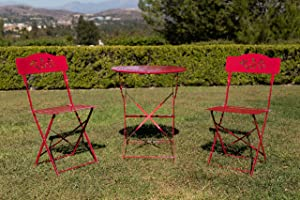 Alpine Corporation 3-Piece Floral Bistro Set - Outdoor Conversation Set for Patio, Yard, Garden - Red