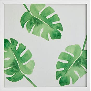 Amazon.com: Rivet Watercolor Green Leaf Print in a White Wood Frame ...