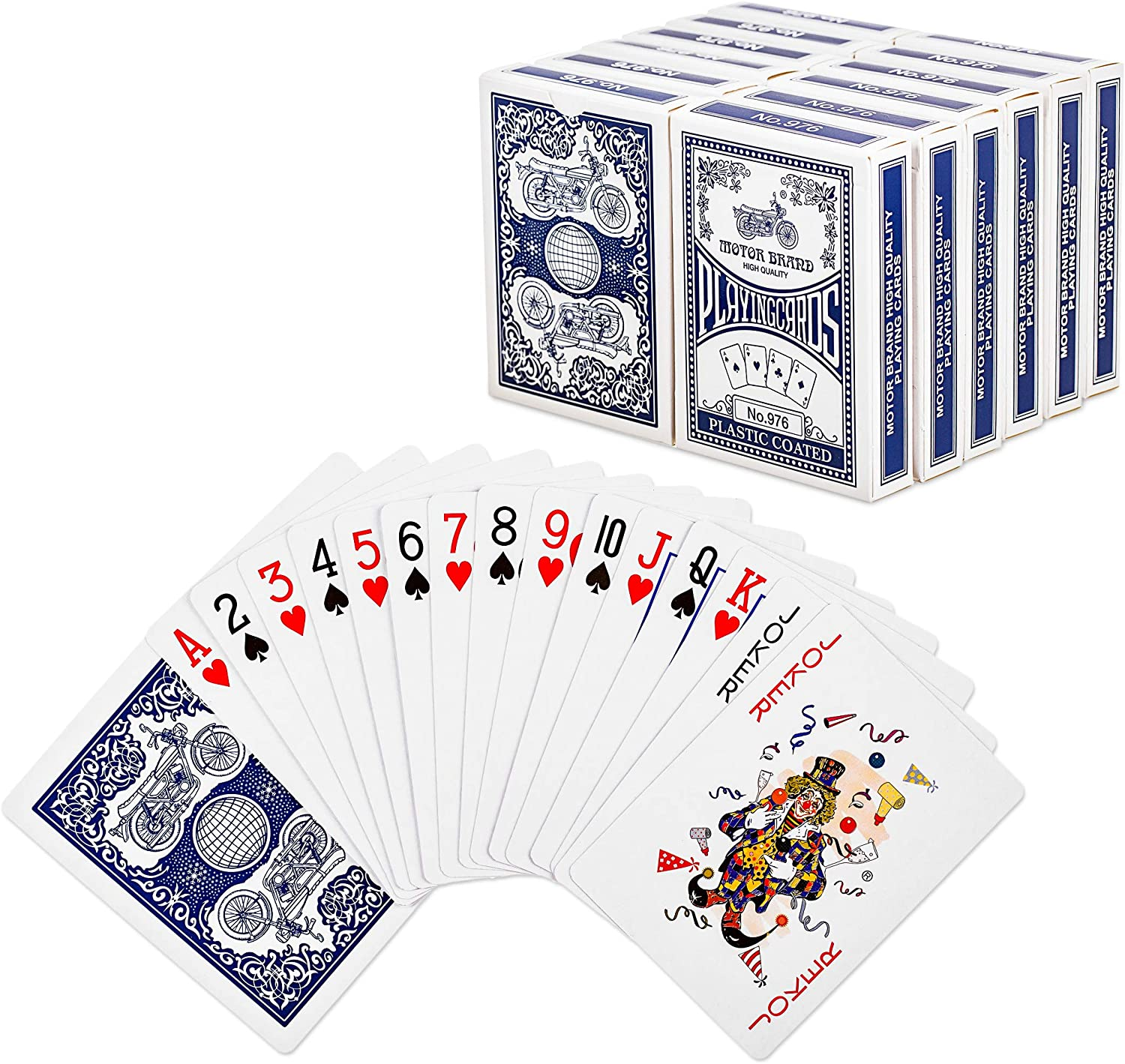 Amazon Com Otron Playing Cards Poker Size Standard Index 12 Decks Of Cards Blue Or Red For Blackjack Euchre Canasta Pinochle Card Game Poker Cards Casino Grade Toys Games