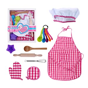 Kids Baking Set Cooking Apron - 13 Piece Children Kitchen Bake Playset Accessories for Girls Toddlers Child Includes Chef Hat, Apron, Cupcake Mold, Measuring Spoons, Oven Glove, Mitt, Play Whisk Spoon