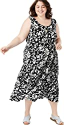 0ac525f8d46 Woman Within Women s Plus Size Button Front Flounced Hem Crinkle Tank Dress