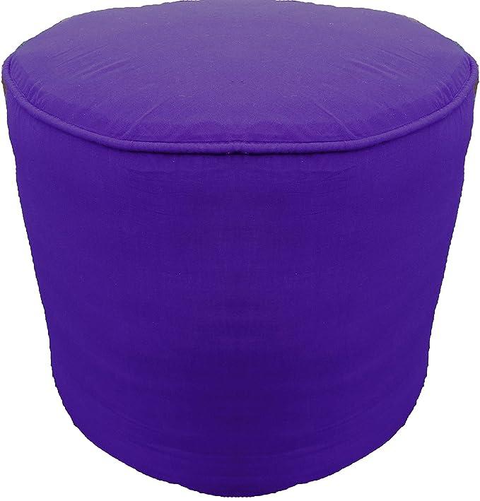 Amazoncom Saffron Plain Cotton Round Ottoman Footstool Solid Throw