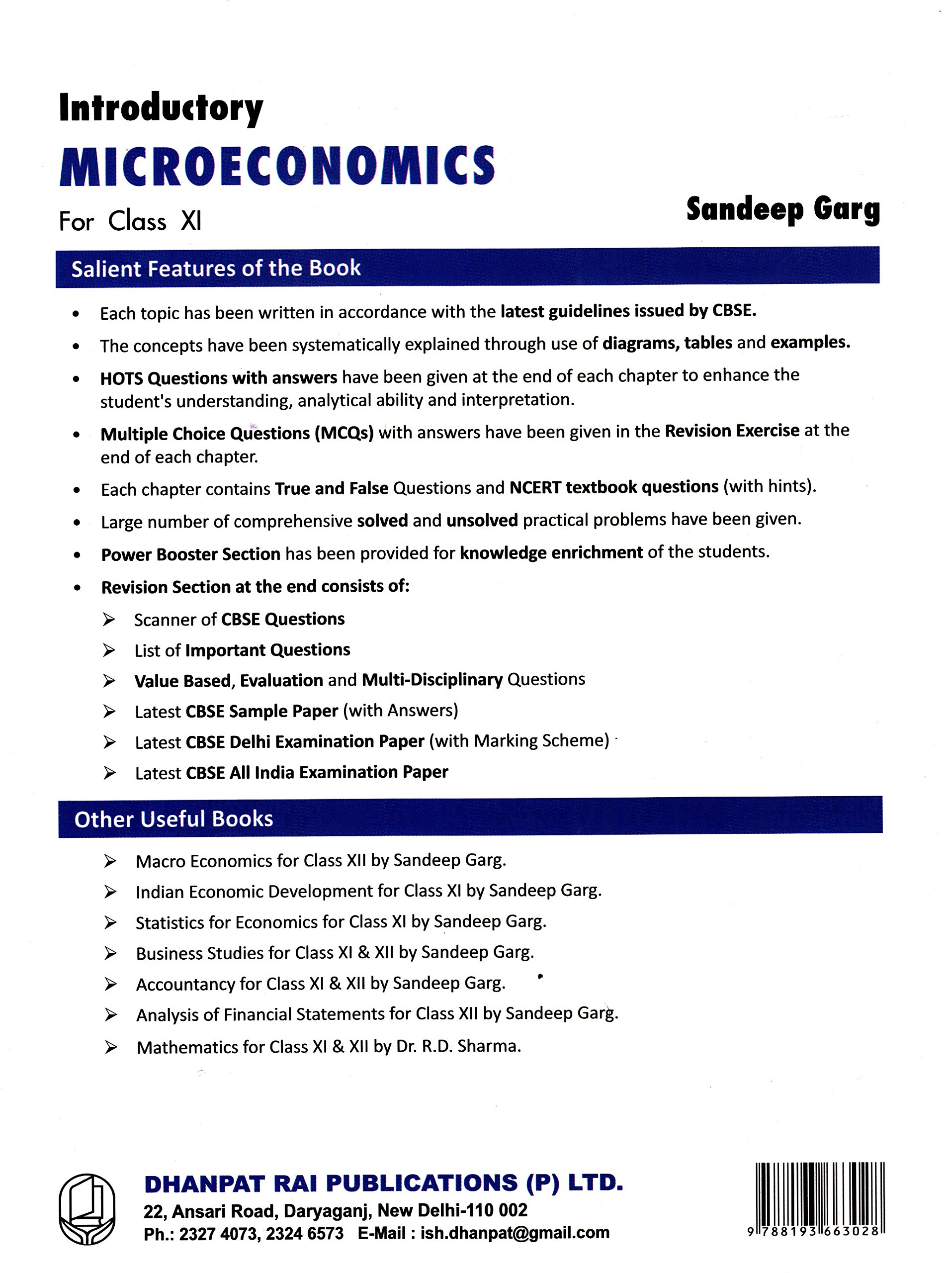 Introductory Microeconomics for Class 11 2018-2019 Session by