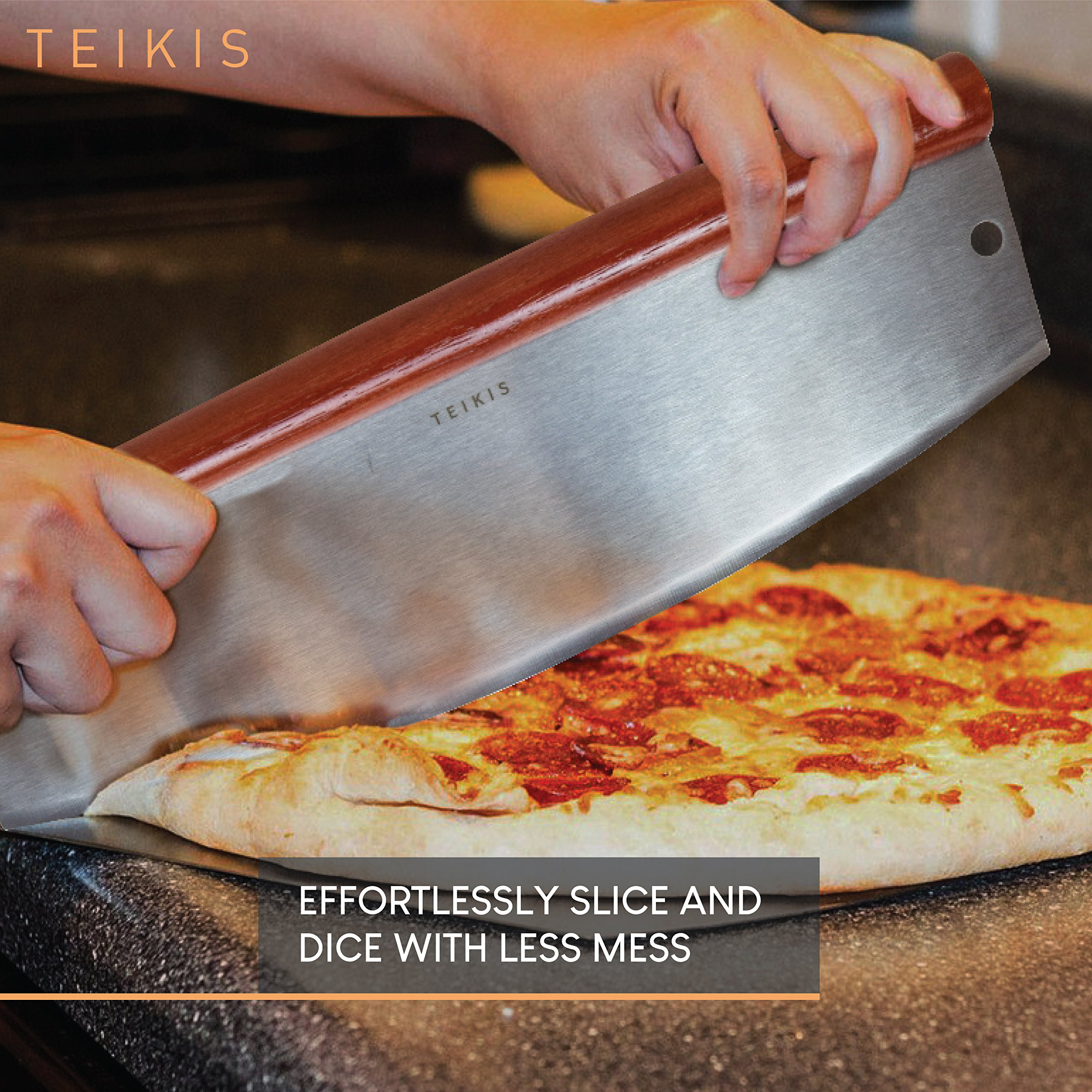 TeiKis Large 14-inch Pizza Cutter + Pizza Peel Paddle Board Set (14-inch x 16-inch) with Wood Handle by TeiKis (Image #7)