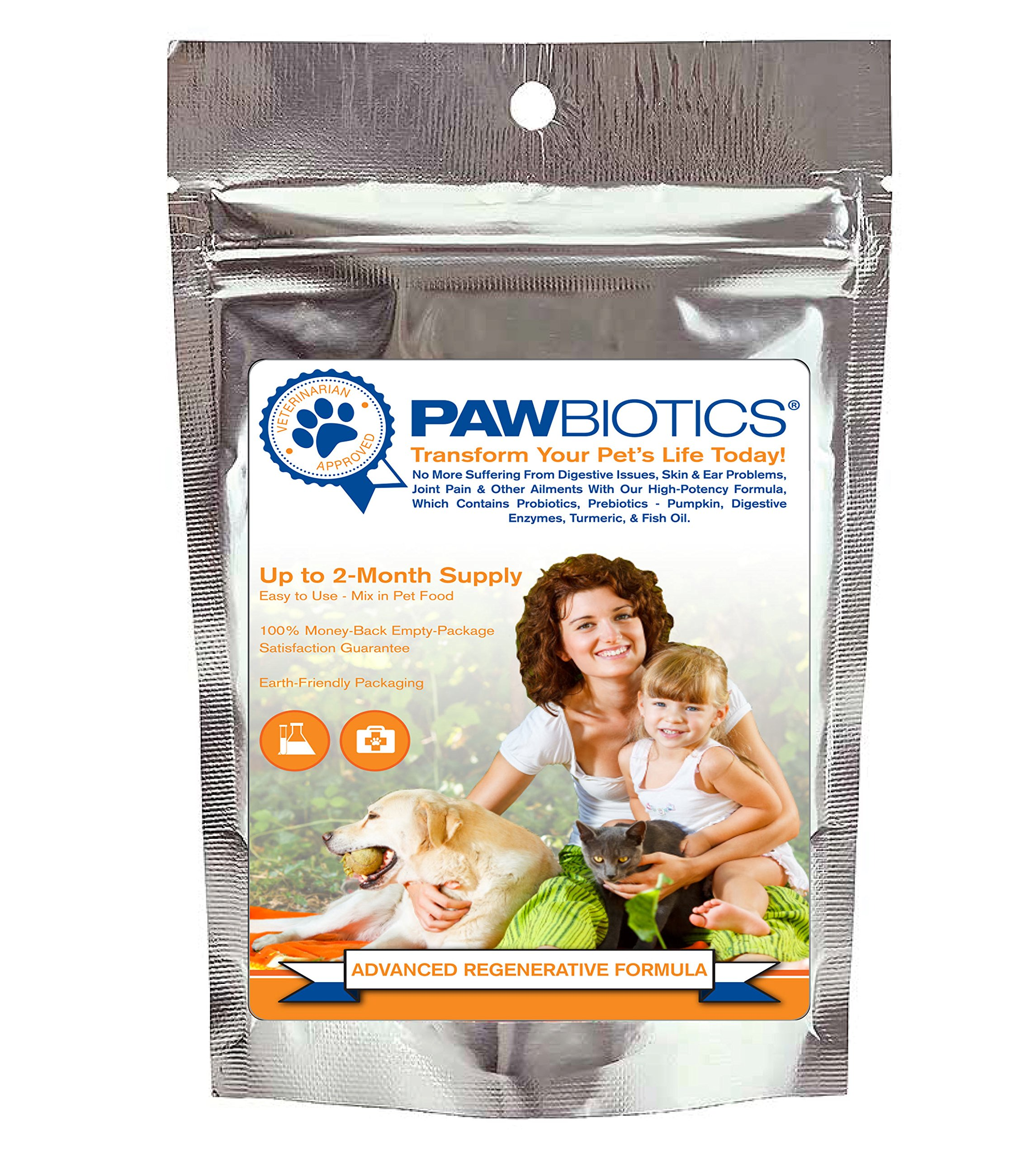 Pawbiotics pet probiotics and enzymes with prebiotics, pumpkin, turmeric, fish oil a natural supplement for dogs and cats (4 ounce)
