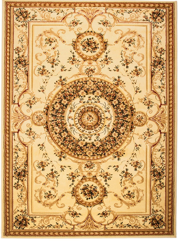 Carpeto Teppich Orientteppich Creme 250 x 350 cm Medaillon Konturenschnitt Muster Iskander Kollektion